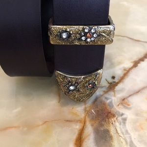 🇮🇹 Leather Jeweled Belt by Tanner of Italy 🇮🇹